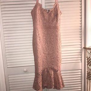 Scallop Lace Fluted Hem Cami Dress